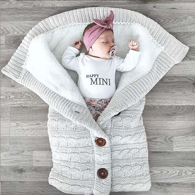 Newborn Baby Swaddle Blanket Baby Kids Toddler Thick Knit Soft Warm Sleeping Bag Baby Stroller