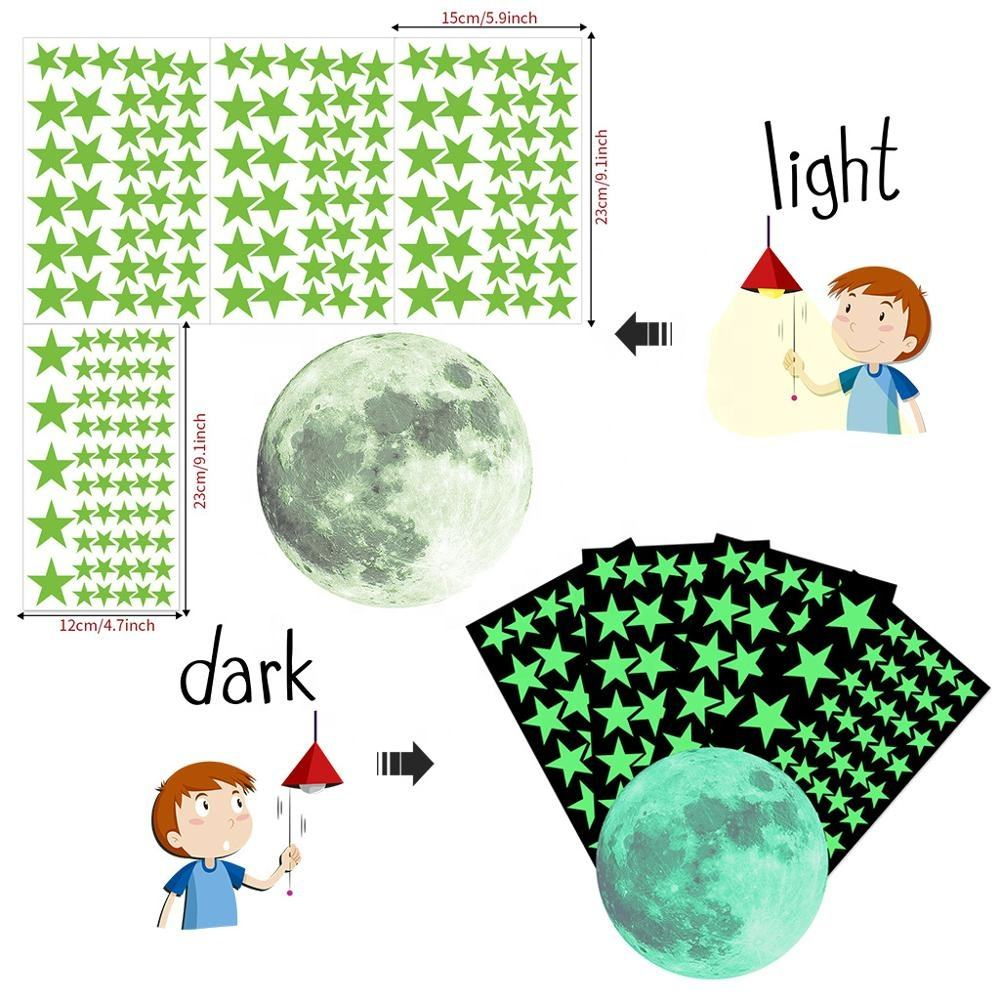 167PCS Stars moon Glow In Dark Wall Stickers Luminous Fluorescent Wall Stickers For Kids Baby Room Bedroom Ceiling Home Decor
