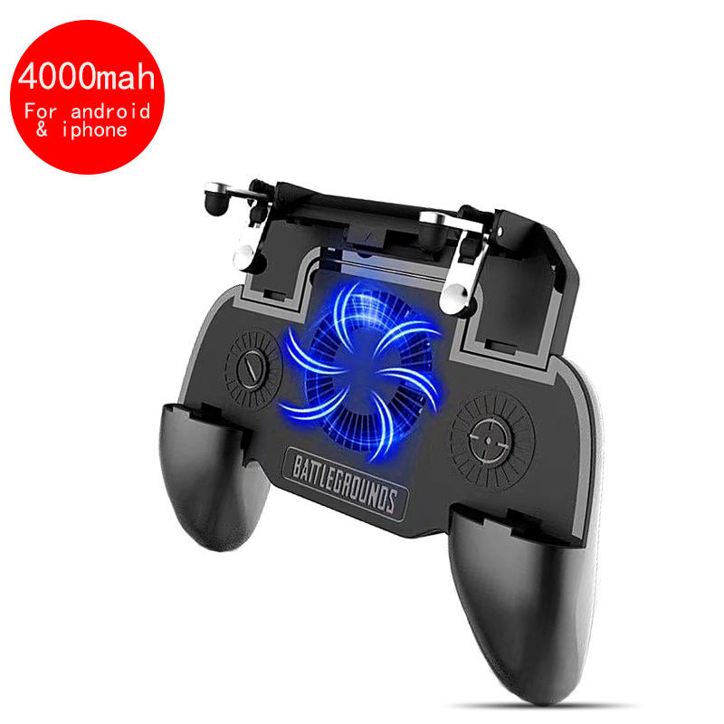 SR 4000mah Mobile Power Game Handle Shooter Trigger Cooling Fan Mobile Game Pubg Controller For Iphone And Android