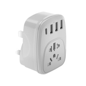UK Power Adaptor Type G Plug Adapter with 3 USB Charger Ports US to UK Plug Universal Travel Adapters