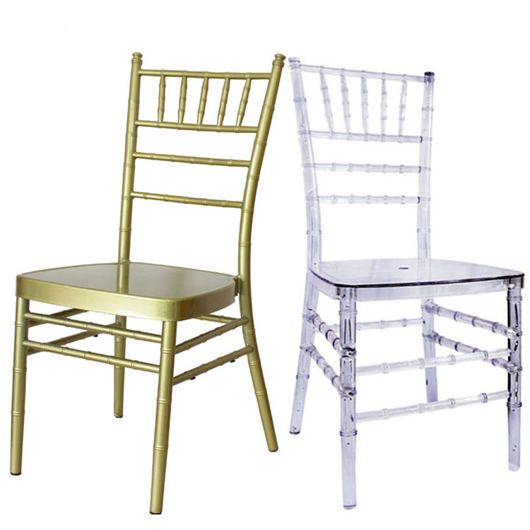 Wholesale resin gold tiffany chair metal Transparent Acrylic used event plasti Chiavari tiffanychairs with cushion for wedding