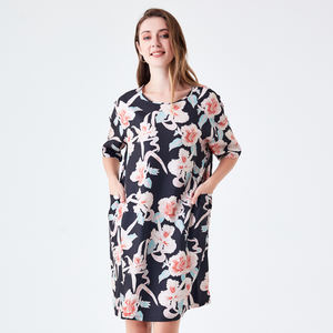 Summer Dresses For Women Ladies Floral Print Short Sleeve Round Neck