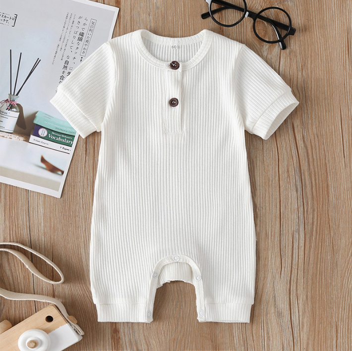 New style baby creeper pure color fashion wear baby boy and girl crawl summer onesie wholesale