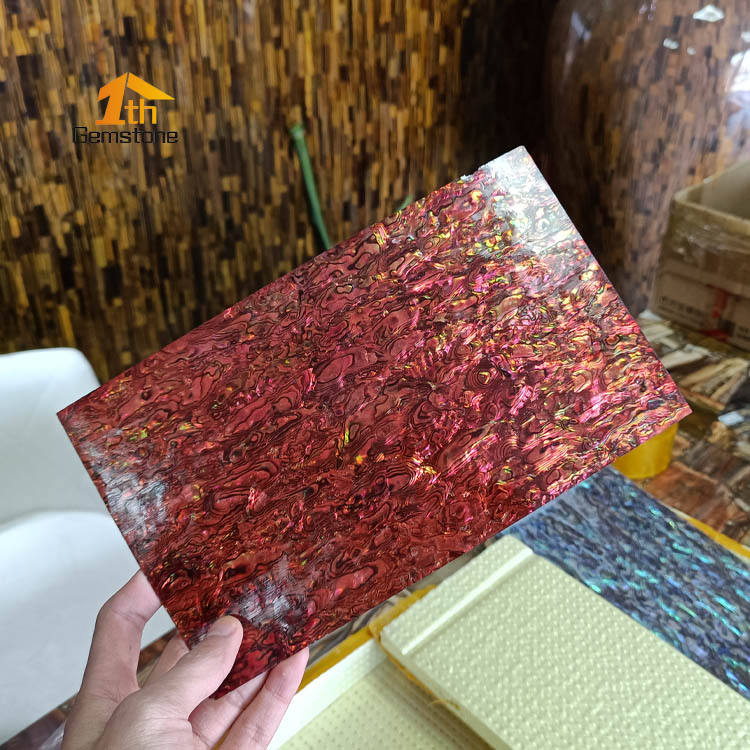 Abalone Shell Veneer Dyed Ruby Red 5.5 x 9.5 for Inlay Dyed Red Color Abalone Shell Sheet