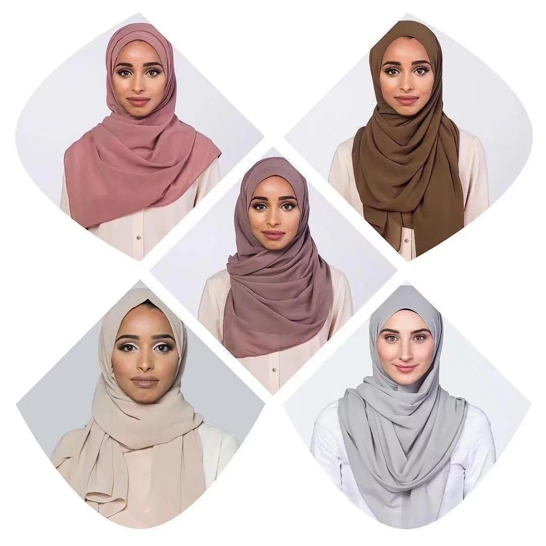 Wholesale Top Quality Solid Color Muslim Chiffon Hijab Pakistani Scarf Hijab