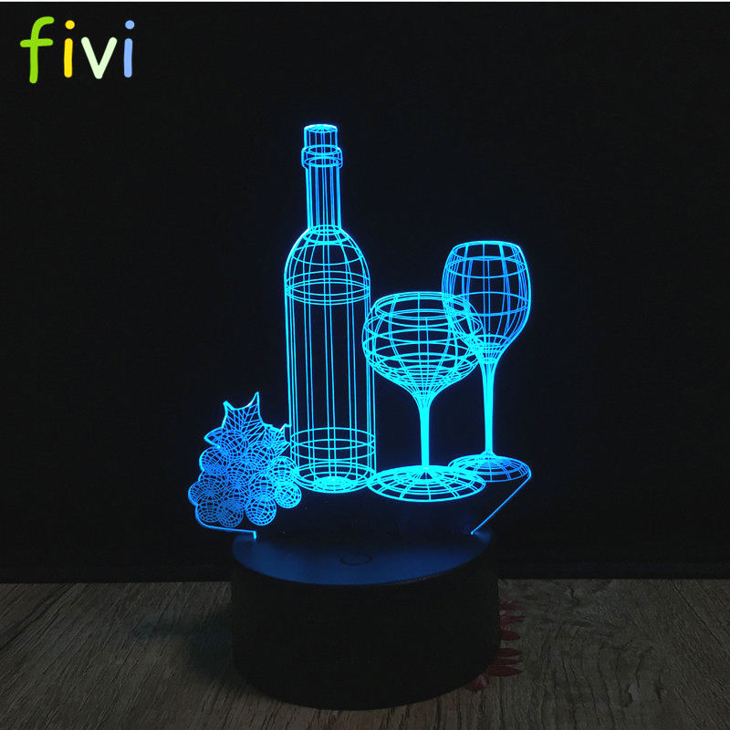Wine Cup Bottle 3D RGB Lamp LED 3D Illusion Night Light Luminaria Wine Bar Decoration 7 Color Change Table Lamp