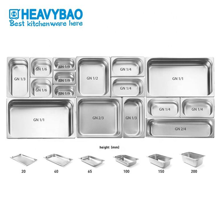 Heavybao 1/1 Stainless Steel Hotel Ice Cream Gastronorm Food Containers GN Pan For Restaurant Kitchen