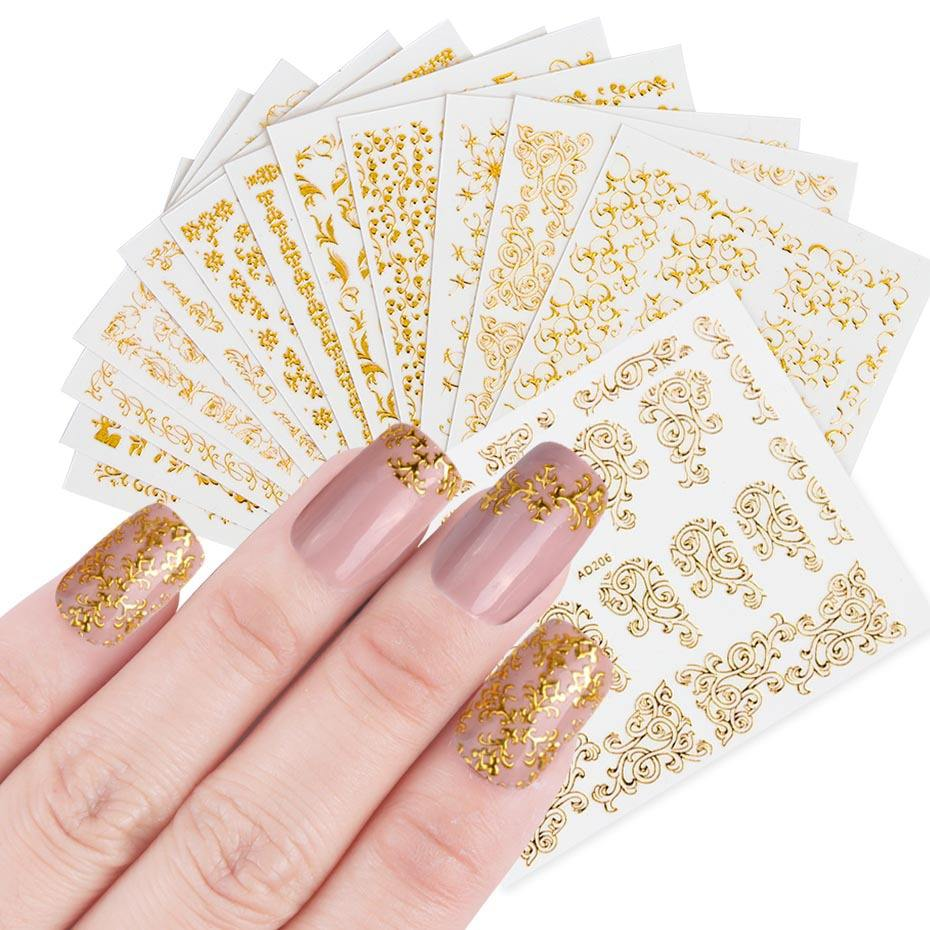 1 Sheets 3D Beauty Nail Sticker Sets Golden Flower Bronzing Design Manicure DIY Adhesive Tips Transfer Art Hollow Foils