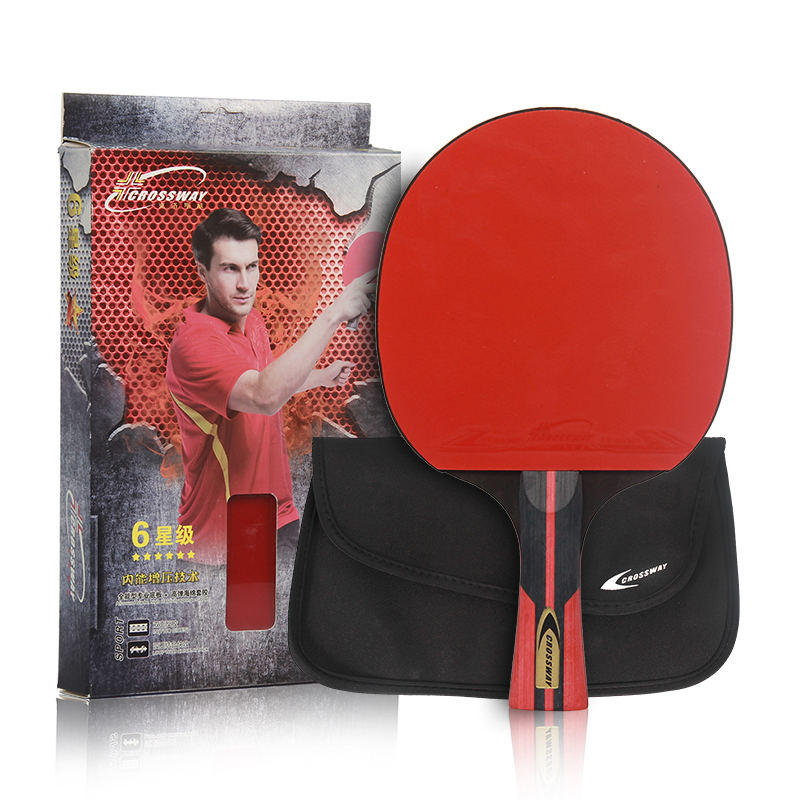 OEM Custom Professional 6 Stars Carbon Paddle Ping Pong Bat Set Table Tennis Racket for Training
