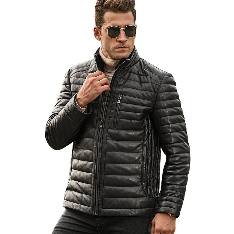 Men's Real Leather Down Jacket Men Genuine Lambskin Winter Warm Leather Coat with Removable Standing Sheep Fur Collar