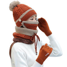 Q512 Custom High Quality Infinity Scarf Hat Glove Set Fleece Lined Scarves Pom Beanie Hats Touch Screen Gloves Winter Hats