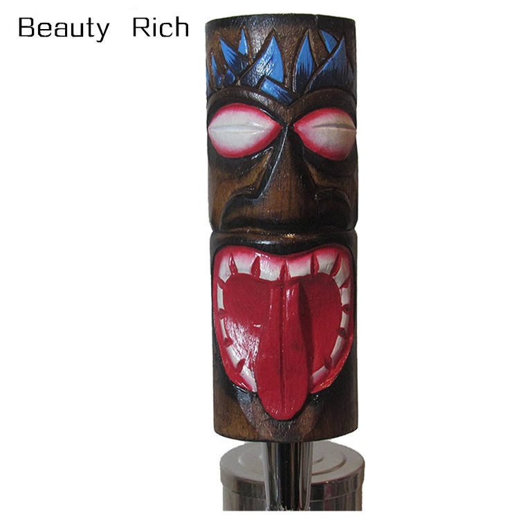 Resin Tap handles Hand Carved Wooden Tiki Beer Tap Handle Sports Bar Kegerator Breweriana Totem