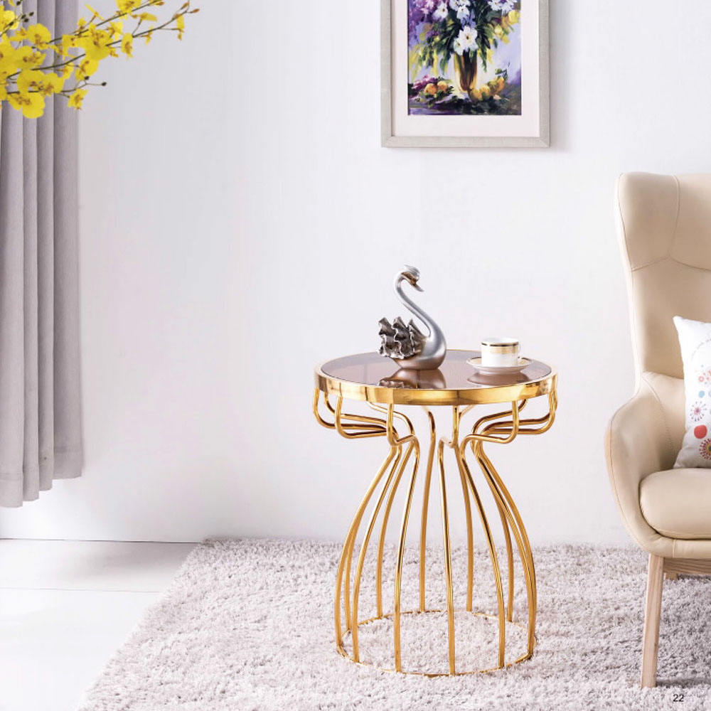 Modern Stainless Steel Gold Marble Coffee Table Side Table With Titanium Plating
