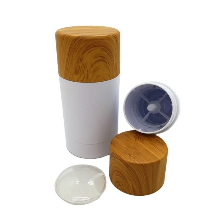 New round twist up empty stick deodorant container with bamboo look lid AS solid perfume bottle