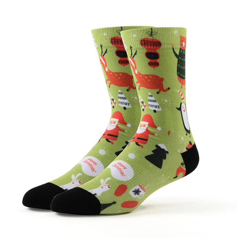 MEIKAN Fashion Pattern Men Sox Custom Coolmax Material Unisex Printing Plain Knit Happy Printed Christmas Socks