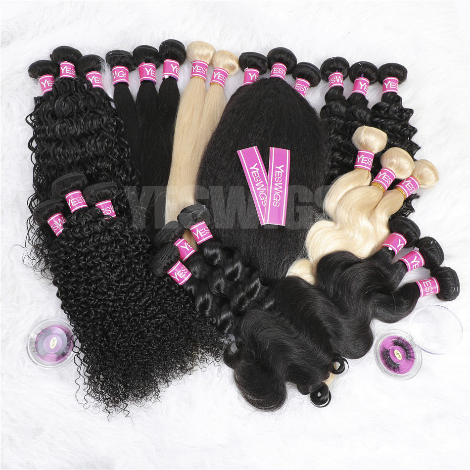 YESWIGS Wholesale Unprocessed Raw Virgin Cuticle Aligned Hair Weaves and Wigs Straight Brazilian Human Hair Extensions Bundles