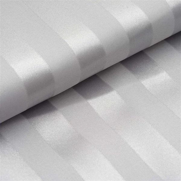High quality soft white color t300 density 1cm/3cm sateen stripe hotel bed linen fabric roll