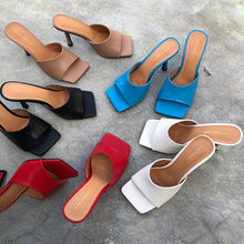 2020 New Arrivals Women Fashion Slippers High Heels Sandals Slip On Square Toe Mules Shoes Woman Summer Slides
