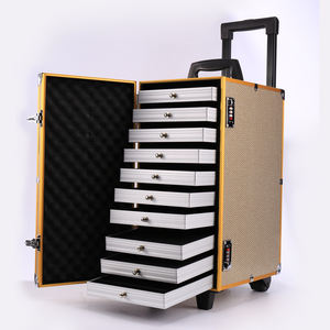Rolling Jewelry Case with Trays Jewelry Trolley Case for Salesman with Drawers Aluminum Jewelry Case with Wheels