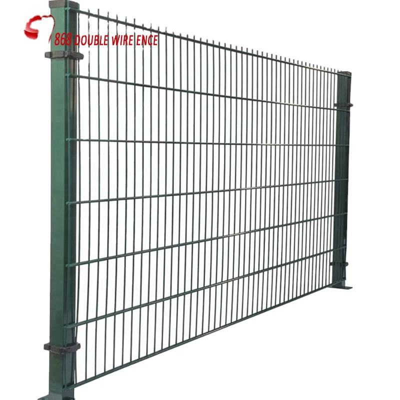 Green Powder Coated Double Wire Mesh Fence / Welded Wire Mesh Panels 200 X 50 MM