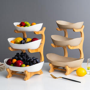 Household Bamboo Wooden Racks 3 Layers Food Container Dish Pottery Ceramic Plate for Salad Vegetable Fruits Nuts Snacks