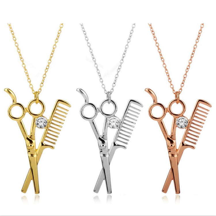 New fashion trend washing and blowing haircut necklace hair stylist popular jewelry hair dryer scissors comb pendant