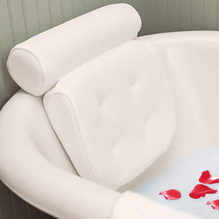 High quality Luxury bathtub headrest spa bath pillow with suction cups