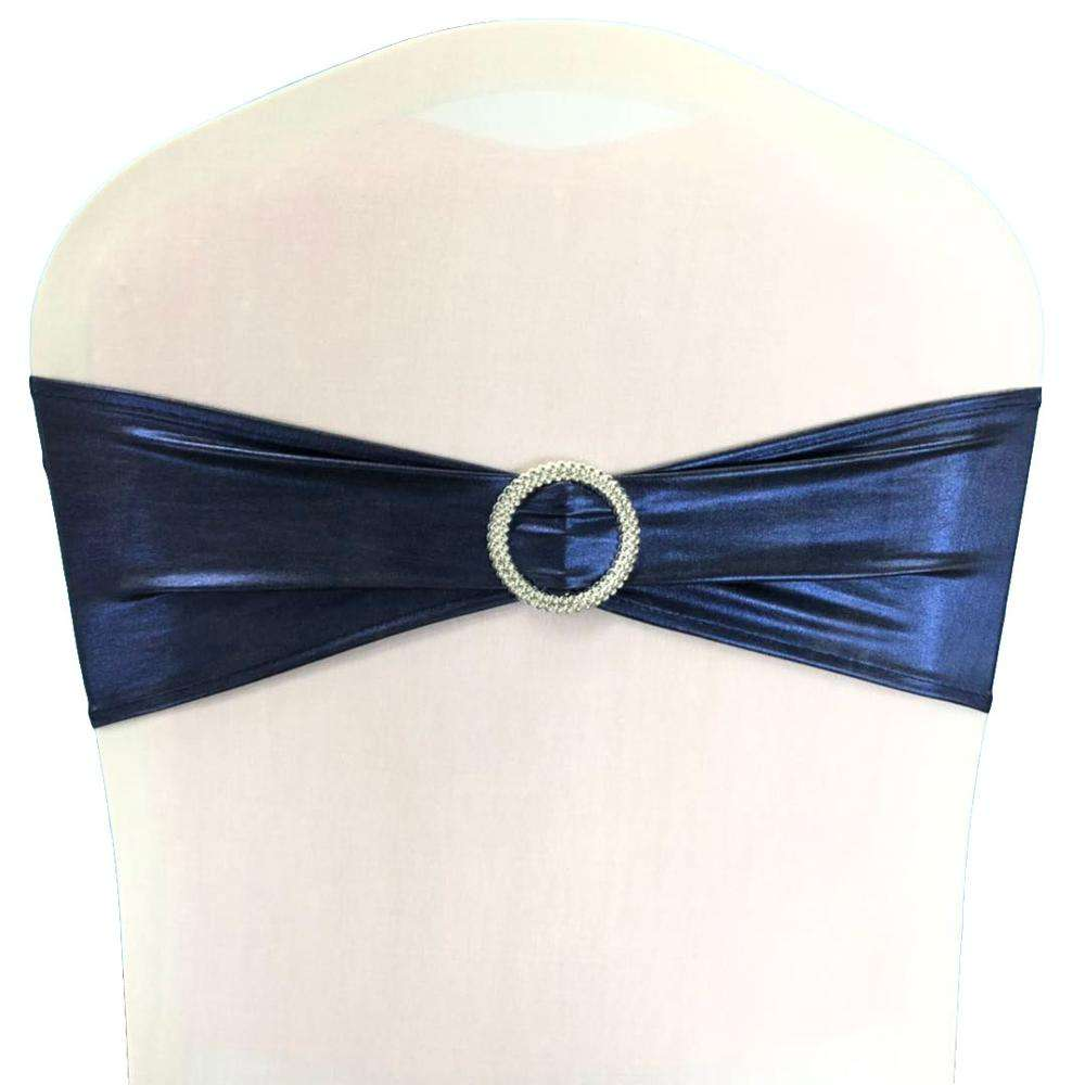 Wholesale cheap metallic spandex chair sashes navy blue sashes for sale