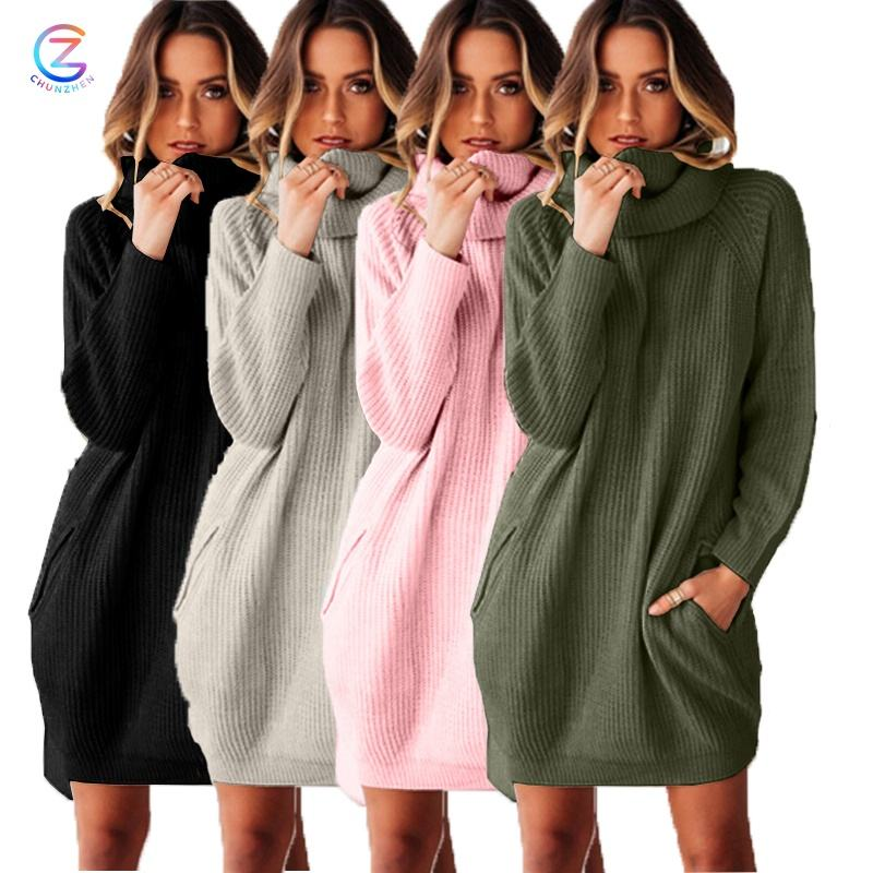 Fashion Design Pink Ladies Knit Smart Casual Knitdress Women Long Sleeve Dresses High Neck Sweater Dress