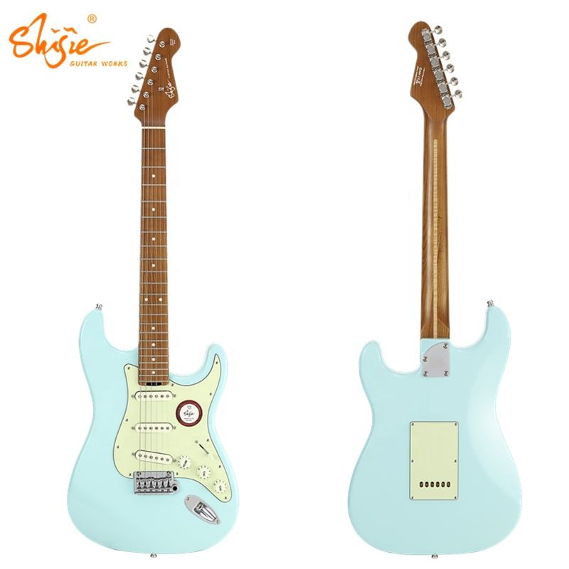 Shijie guitars STE-STD-BL kluson deluxe tuners alder body roasted maple neck electric guitar