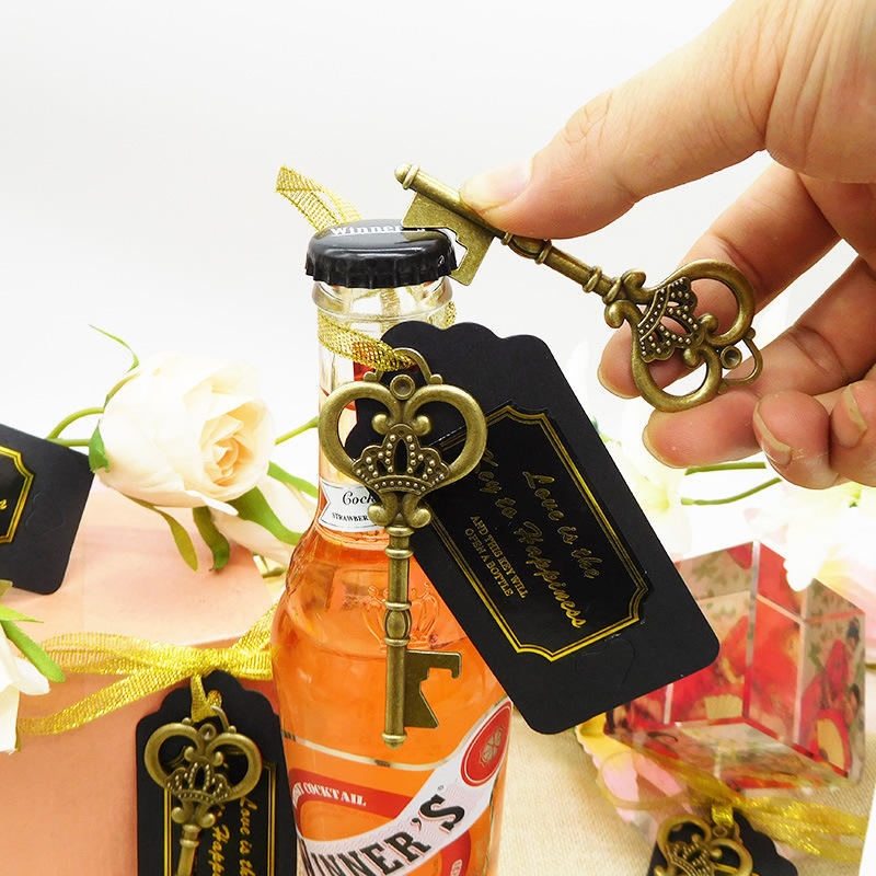 wedding souvenirs guests wedding favor key bottle opener with greeting cards and golden silk ribbon useful wedding favors gift