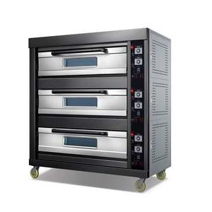 Factory Supply Three Tier Six Tray Black Titanium Panel Gas Oven Commercial 3-tier 6 Tray Gas Oven Baking Oven
