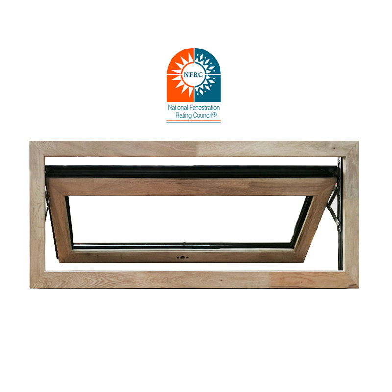 Usa &Nfrc Standard Unique Design Waterproof Double Safety Glass Aluminum Wood Finish Wooden Frame Timber Awning Window For Home