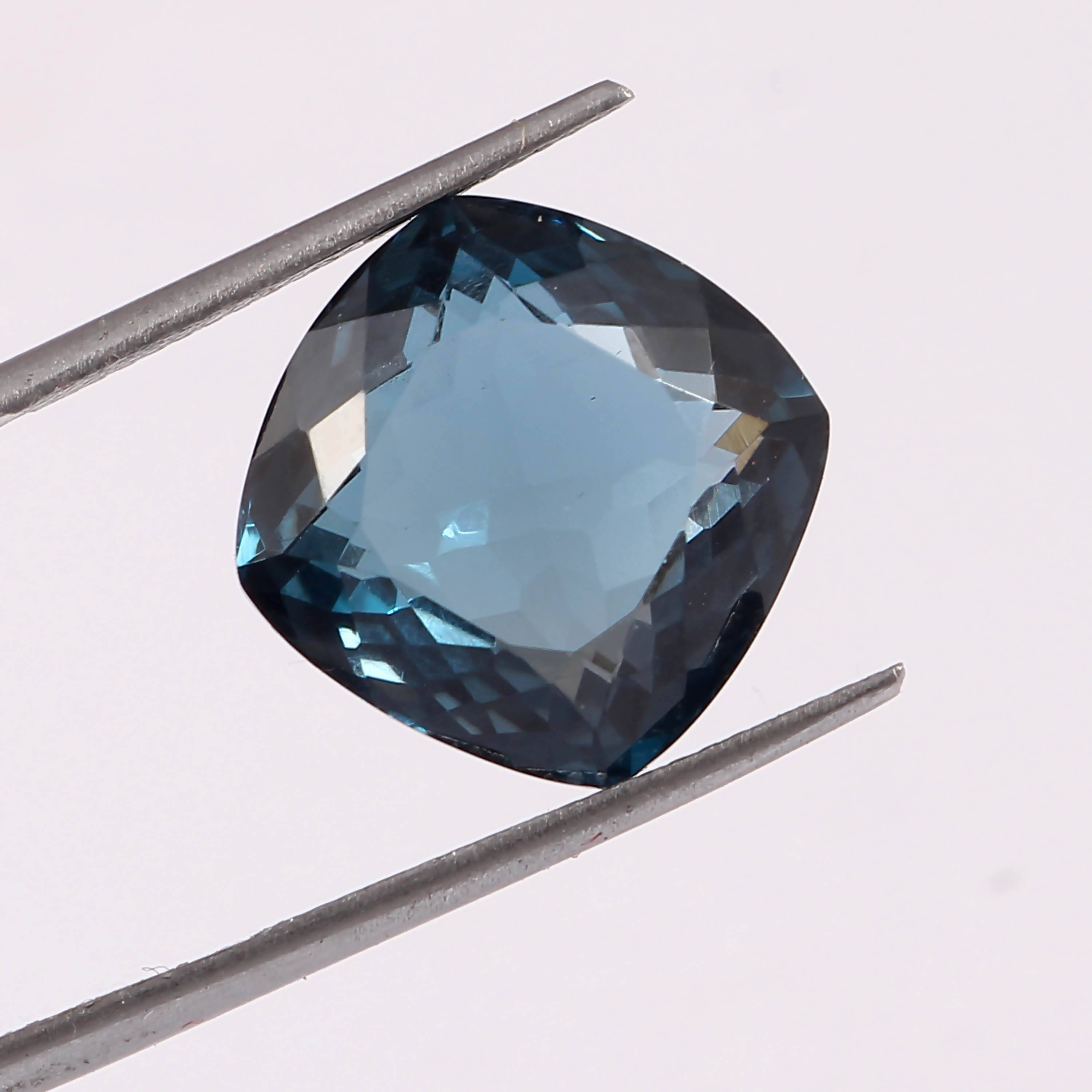 14.95 Cts. Natural London Blue Topaz Faceted Cushion Shape Loose Gemstone, 100% Natural Gemstone For Making Jewelry, 14 MM