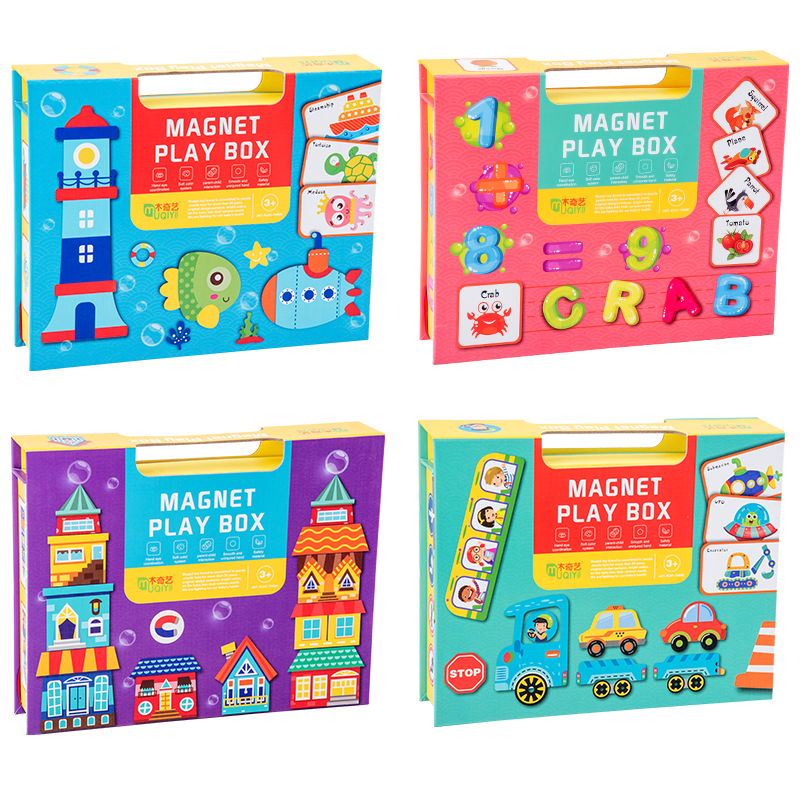 Baby educational toys magnet playing box wooden magnetic learning card