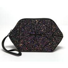 Fashion trendy lingge evening clutch bags diamond geometric makeup bags cosmetic bags