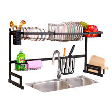 2 Tier 85cm Black Metal Kitchen Storage Racks Basket Organizer Over Sink Dish Drying Rack