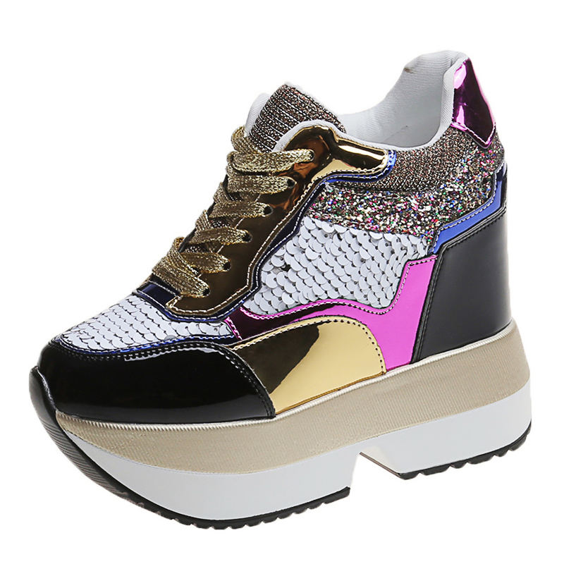 popular women's gold sequin sneakers casual shaking sport walking shoes