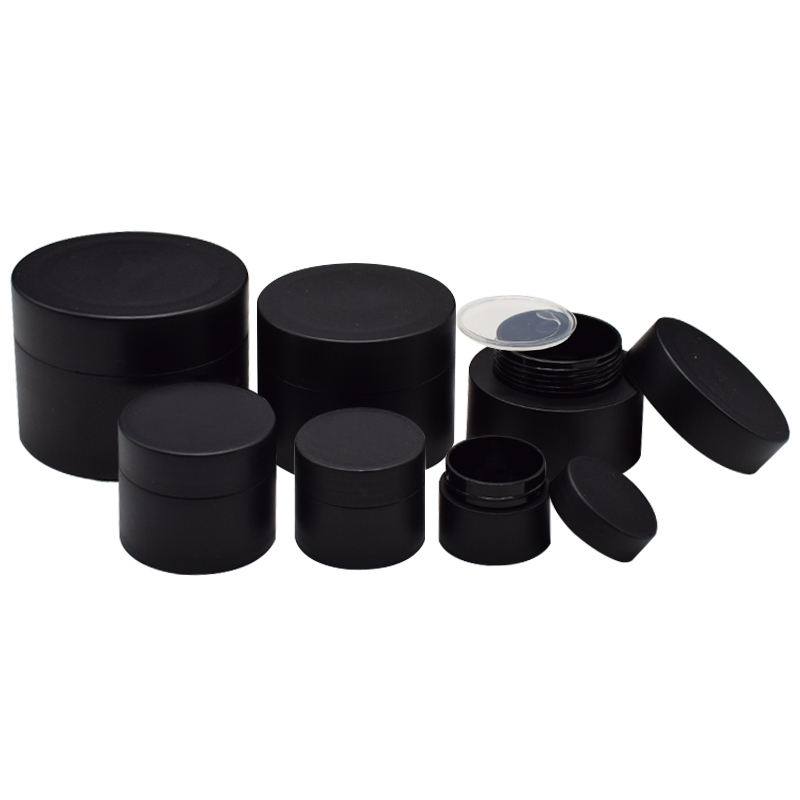 Refillable Sample Container Matte Black/White Plastic Jar With Inner Liners