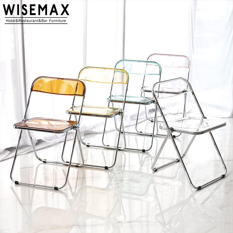 Hot Sale Modern Transparent Acrylic Folding Chair Plastic Chairs Dining Chair with Metal