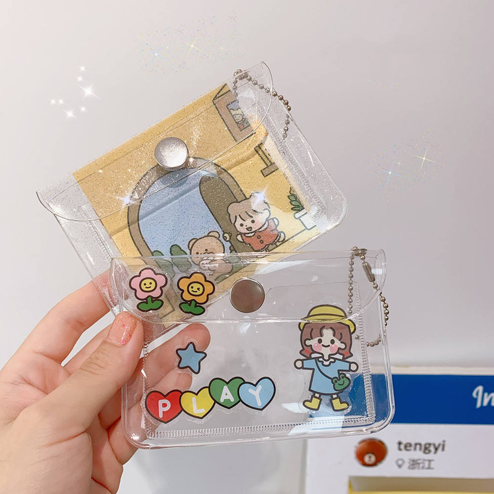 Custom logo ins glitter transparent card case portable pvc coin purse