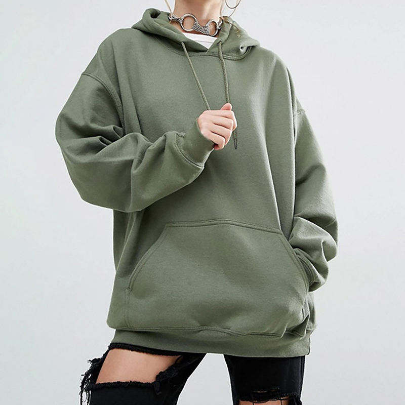 Women Loose Solid Color Sports Hooded Bats long Sleeve Sweater Cotton Over Size Sweater 2021 new arrivals