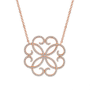 Fashion Wholesale Women Sterling Silver Clear Cubic Zircon Fine Jewelry Rose Gold Plated Love Knot Necklace