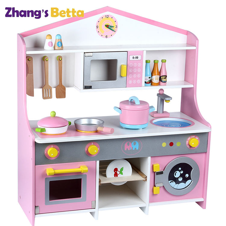 Girl Wooden Kitchen Accessories Toys Set,Wooden Kitchen Toys For Kids Friger