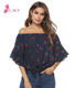 Packaging Customization 2020 Sexy Women Floral Flare Sleeve Tops Summer Ladies Off Shoulder Fashion Blouse Tops 2020