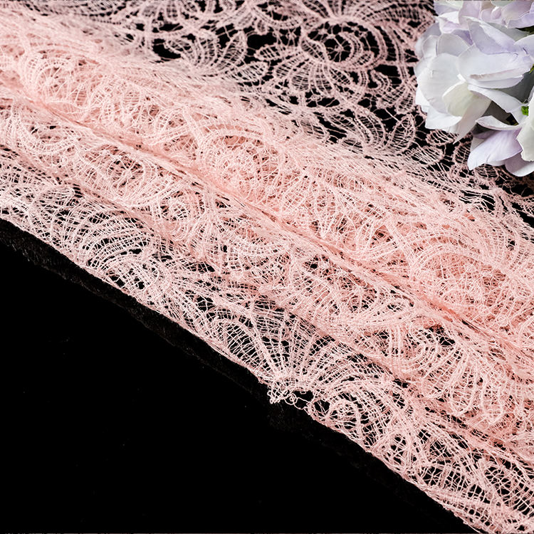 DJ011 Luxury pink Wedding elastic dress lace trim eyelash fabric trim wholesale