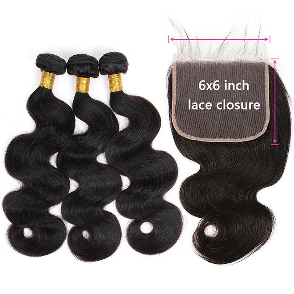 HD Transparent 6x6 Closure And Bundles Brazilian Body Wave Top 6x6 Lace Closure With Bundles Remy 100% Human Hair Extensions