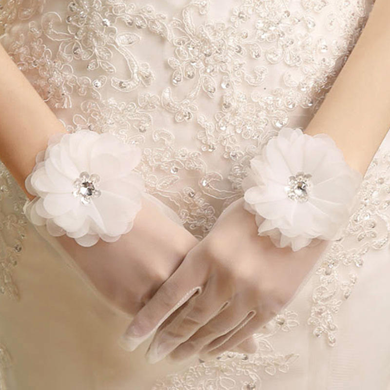 Tulle Flower Cheap Price White Wedding Dress Gloves Wholesale