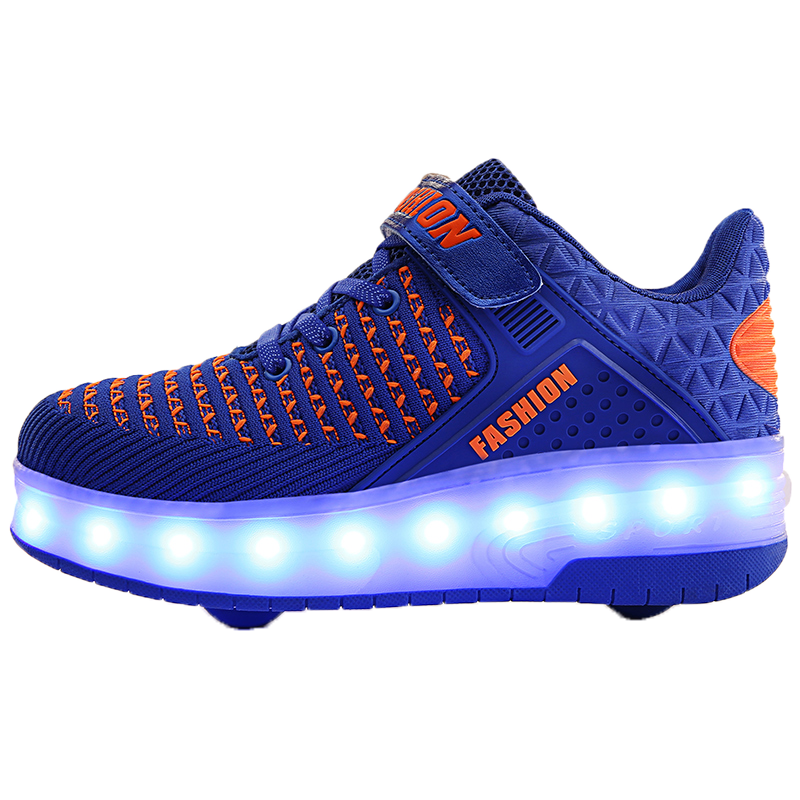 Wholesale Kids Flying Flashing Led shoes with 2 Wheels Skate Roller Shoes for boy