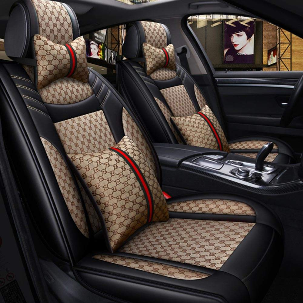 Factory Price Fashion Universal Linen+PU Leather Look Car Seat Covers With Customized